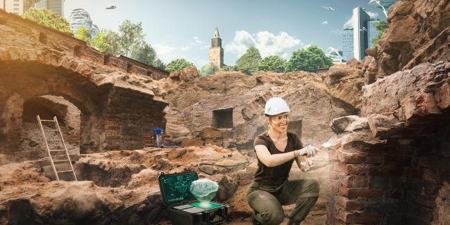 An archaeologist working in an excavation site in future Turku.