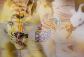 Unfocused tiger and a jack in the box representing dreams.